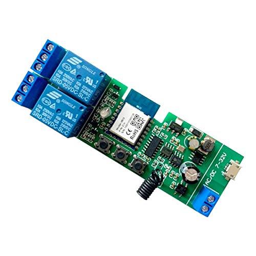 MHCOZY Módulo de interruptor de relé RF WiFi inalámbrico de 2 canales y 12 V, compatible con Alexa Google Home (Tuya Smart Life App 2CH)