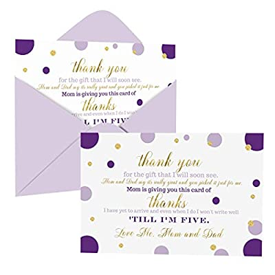 Purple and Gold Baby Shower Thank You Cards with Envelopes (15 Pack) Princess, Mermaid Theme Supplies Abstract Dots -Thank You Note from Baby - A6 Flat Stationery Set Printed (4 x 6 Inches) from