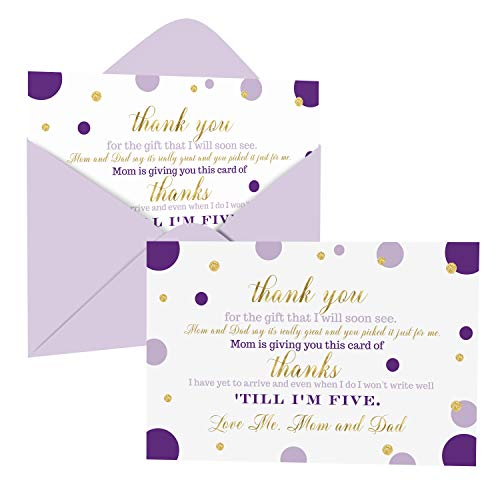 Purple and Gold Baby Shower Thank You Cards with Envelopes (15 Pack) Princess, Mermaid Theme Supplies Abstract Dots -Thank You Note from Baby - A6 Flat Stationery Set Printed (4 x 6 Inches)