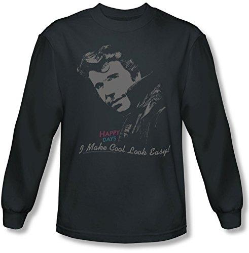 Happy Days - Cool shirt Fonz manches longues Homme au fusain, X-Large, Charcoal