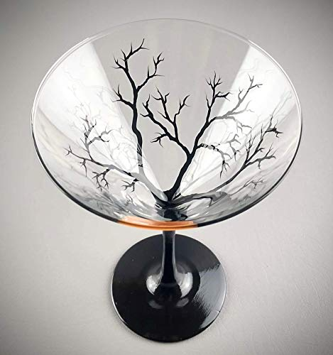 Raven Halloween Martini Glass Hand Painted Spooky Tree Moon Cocktail Glasses