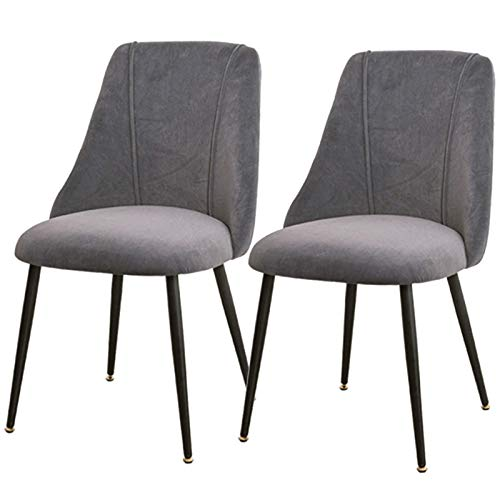 2pcs Dining Chairs Tulip Style Metal Chair Legs Soft Fabric Upholstered Seat Ergonomics Office Chair Kitchen Bedroom Dressing Lounge Table (Color : Gray)