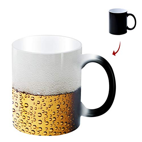 Heat changing coffee mug.Cuunumu.Color changing mug-add hot liquid and beer will appear.12oz funny...