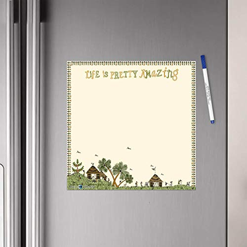 WallDesign Vinyl Life is Pretty Amazing Writing Film Flexible Fridge Magnet (1ft x 1ft, Cream))