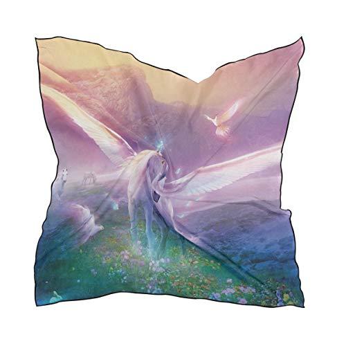 LUPINZ - Sciarpa da donna in seta, motivo: Pegaso, unicorno nel paese delle meraviglie, quadrata, 60 x 60 cm