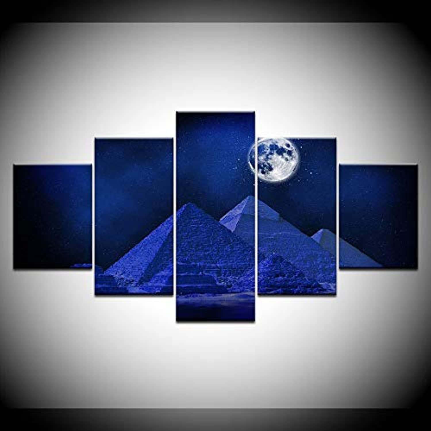 Wall Art Picture Modern Canvas Home Decor for Living Room 5 Pieces Egypt Pyramid Moon Paintings Modular HD Printed Poster
