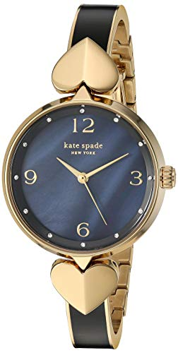 Kate Spade New York Women's Hollis Quartz Stainless Steel Mother of Pearl Watch, Color: Gold, Black Bangle (Model: KSW1563)