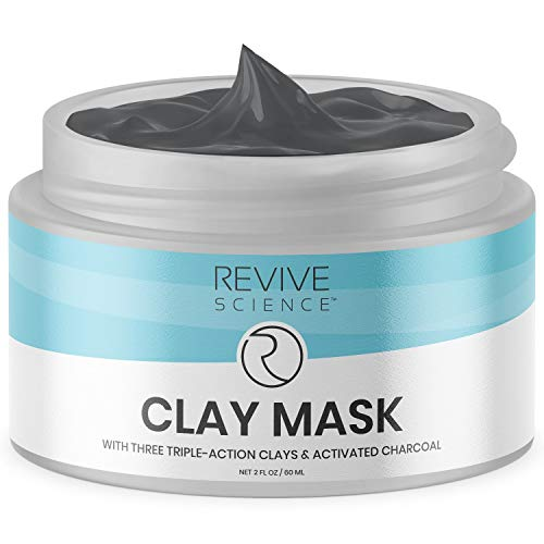 Revive Science Detox & Rebalance Charcoal Clay Face Mask to Cleanse, Exfoliate & Minimize Pores, Acne Scars, Remove Blackheads & Lighten Dark Spots for Men & Women, All Skin Types, 2 oz