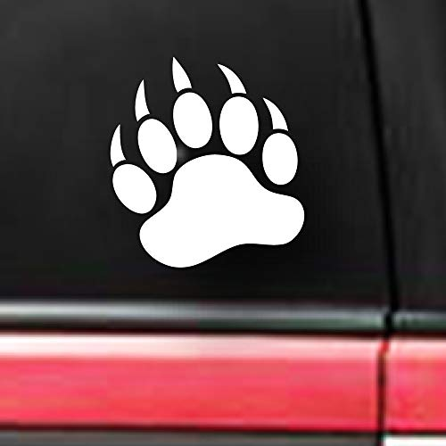 spdecals Grizzly Bear Paw Print Car Window Vinyl Decal Sticker (White, 6')