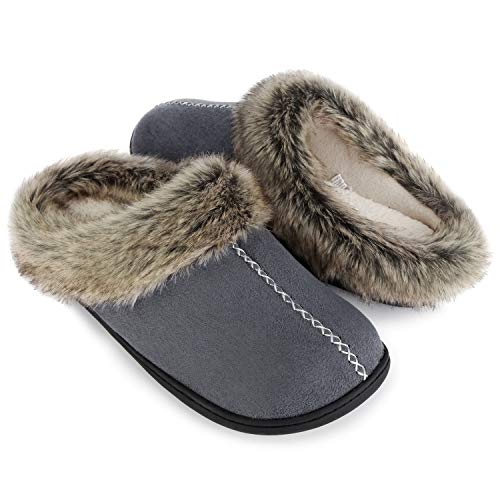 ULTRAIDEAS Men's Cozy Memory Foam Slippers with Warm Fleece Lining and Fuzzy Faux Fur Collar, Casual Micro Suede Slip on House Shoes with Indoor Outdoor Anti-Skid Hard Rubber Sole(Grey,9-10)