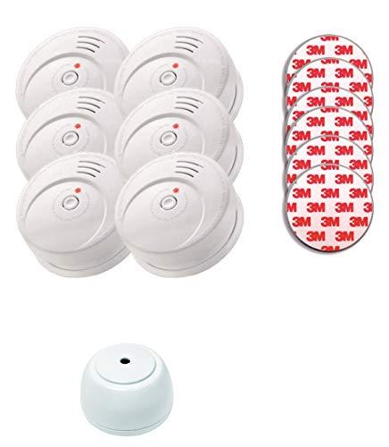 Jeising Sicherheits Set GS506 G 6er Set Rauchmelder/Brandmelder/ 10 Jahre Batterie KRIWAN zertifiziert EN14604 inkl. 6 x Magnetbefestigung 3M Premium selbstklebend + gratis Wassermelder GS158