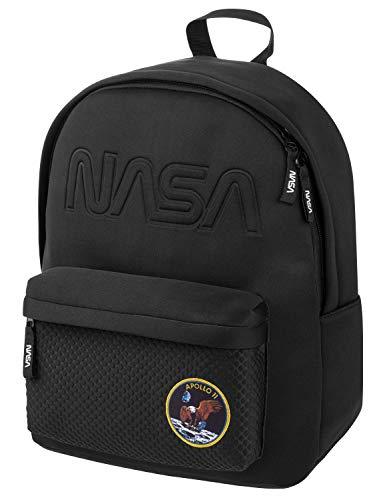 NASA Freizeit Rucksack Jungen Mädchen Teenager Herren, Leichter Tagesrucksack Sportrucksack Schulrucksack für Studenten und Jugendliche (Schwarz)