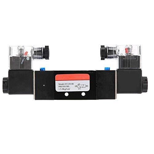 GUOCAO Válvula solenoide eléctrica, Solenoide G1 / 4'4V220-08 2 Posición 5 Puerto Controlador de fluidos de válvula de aire electromagnético con piloto para piloto para sistema neumático (AC110V) Vál