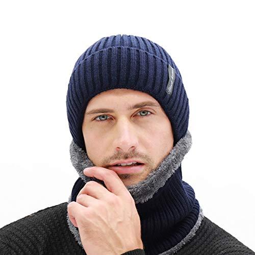 Baumwollkappe 2 Teiliges Set Herren Winter Strickmützen Beanie Mütze mit Schal Warm...