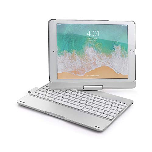 Keyboard Case For iPad 2018 9.7 Rotate Colorful Backlight Wireless Bluetooth Cover For iPad 2017 Air 2 1 ABS+PC Fundas-Silver