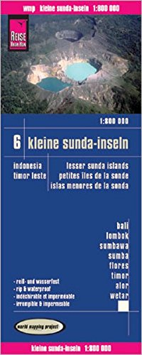 Indonesia 6: Islas menores de la Sonda, Bali, Lonbok, Komodo, Flores, Timo, Alor, wetra, mapa de carreteras impermeable. Escala 1:800.000. Reise-Know-How.