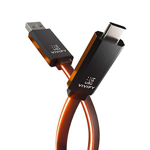 VIVIFY Câble Chargeur USB 3.2 3.1 Gen2 Type C vers Type A Gaming de 1M Orange ACESO W10 avec illumination, Quick Charge 3.0, QC3 et transfert de données 10Gb/s pour Playstation 5, XBOX Series X