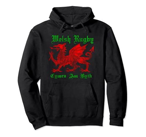 Welsh Dragon Rugby Shirt: Wales Football Top / Vintage Cymru Sudadera con Capucha