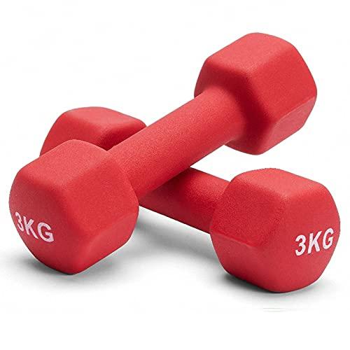 Albott 2er Set Hantel Neopren Hanteln Gewichte Kurzhanteln Fitness Hanteln Set 2 x 3 KG Frauen Hantelset Kurzhantel Set für Gymnastik, Aerobic, Pilates, Fitness