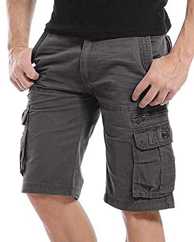 Kuson Hommes Shorts Bermudas Cargo Outdoor Coton Casual Lâche avec Poche Gris FR 46