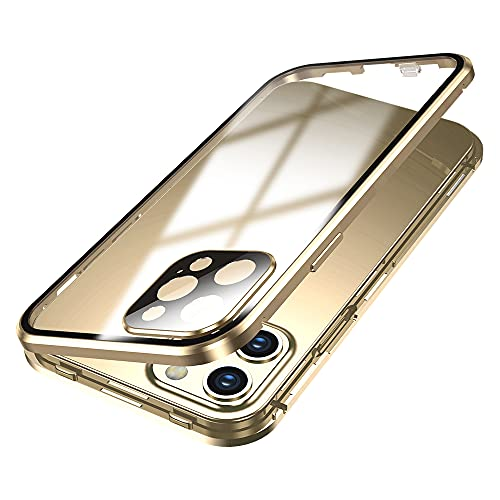 Lockable iPhone 12 Pro Max Anti-Peeping Case with Camera Lens Protector Privacy Screen Protector Strap Hole Aluminum Alloy Metal Bumper Case Double Lock Glass Case Cover (12ProMax, Gold)