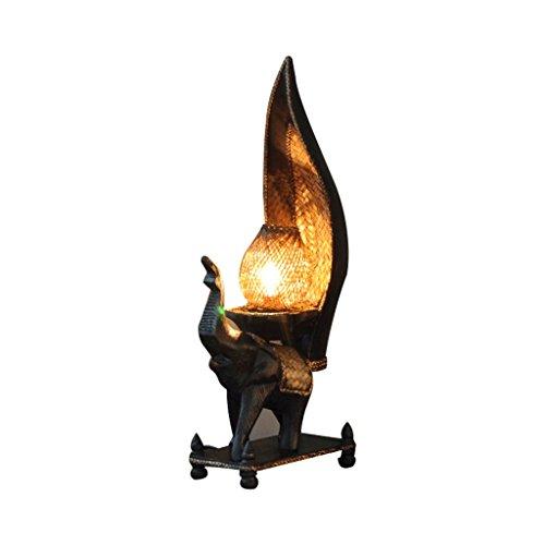 LOFAMI Lampe de table d'art de style thaï, abat-jour en bambou, sculpture sur bois décoration traditionnelle chambre salon lumière de table