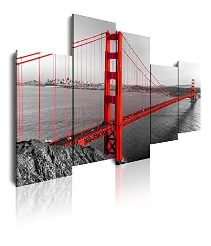 DekoArte 126 - Cuadros Modernos Impresión de Imagen Artística Digitalizada | Lienzo Decorativo Para Tu Salón o Dormitorio | Estilo Ciudades EEUU Golden Gate San Francisco | 5 Piezas 150x95cm