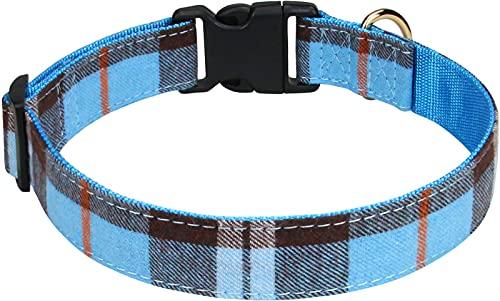Taglory Hundehalsband, Kariertes Hundehalsband,Verstellbares Hundehalsband für Kleine,Mittelgroße und Große Hunde,Hellblau,S