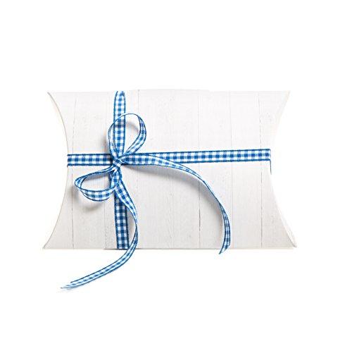 10 witte houten look, geschenkdoosjes, kartonnen doosjes, 14,5 x 10,5 + 3 cm + 10 blauw geruit, verpakking voor gastgeschenken kinderen oudejaarsavond verjaardag bruiloft