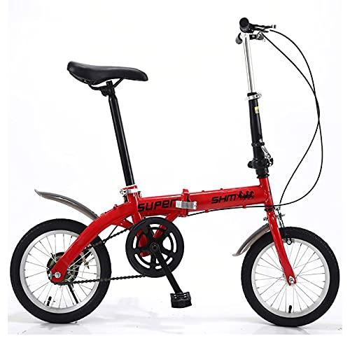 CADZ Bicicletas Plegables - Bicicleta Plegable, Bicicletas De 14 Pulgadas Bicicleta Ultraligera Portátil Transmisión De Una Velocidad, Bicicleta Plegable De Carretera De Tamaño Completo Y Liviana
