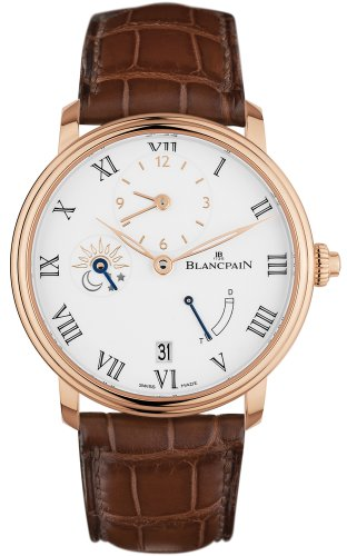 Blancpain Villeret Half Timezone Automatic White Dial 18kt Rose Gold...