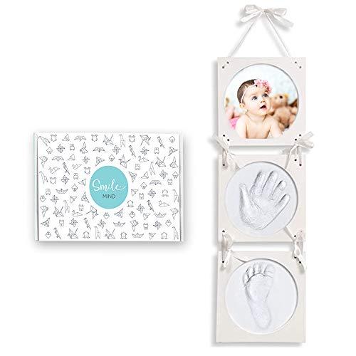 Smile Mind® Cornice impronte neonato con Scatola Regalo Neonato e Regalo Nascita, Kit porta foto mani e piedi neonati Personalizzabile. Idea regalo per lista nascita bebè, battesimo bimbo o bambina