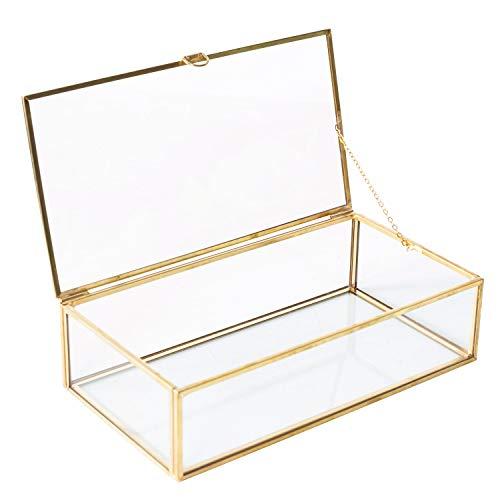 Utopz Golden Glass Jewelry Keepsake Box Home Decor Display Vintage Glass Jewelry Organizer, Decorative Accent, Brass & Clear Glass, 8x4.5x2in