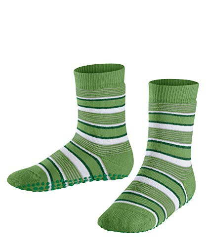 FALKE Unisex Kinder Mixedstripe Cp Socken Stoppersocken, grün (fairway 7480), 35-38