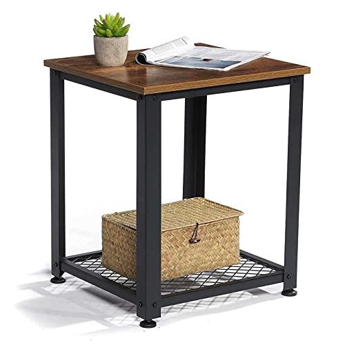 NICEDINING 2 Capas cuadradas Mesa de café sofá Mesa Lateral con Estante de Almacenamiento Marco de Metal Mes noco de Mesa pequeño Escritorio Sala de Estar Muebles