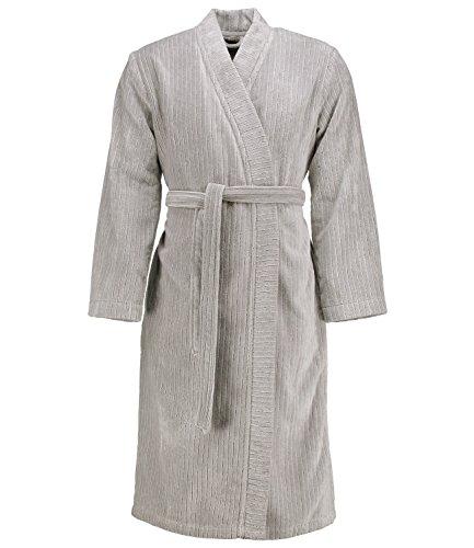 Marc O'Polo Bademantel Unisex Kimono Velour Stripe Silver XL