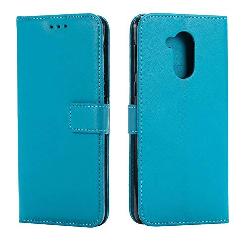 DENDICO Huawei Honor 6C Hülle, Premium Leder Flip Handyhülle Schutzhülle, Wallet Tasche Brieftasche im Bookstyle mit Standfunktion - Blau