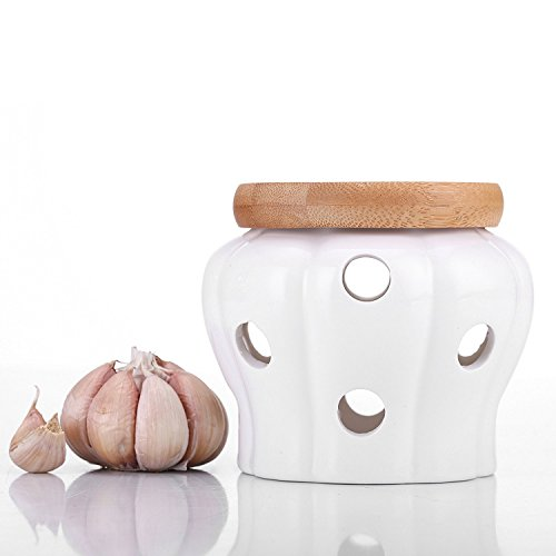 Garlic Keeper Vented Ceramic Storage Container White Stoneware with Bamboo Lid