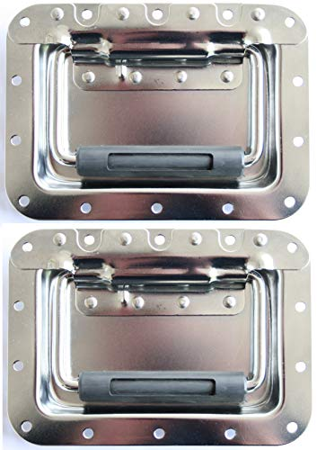 2x Klappgriff groß gefedert Einbauschale 14mm 178x127 mm Case Rack