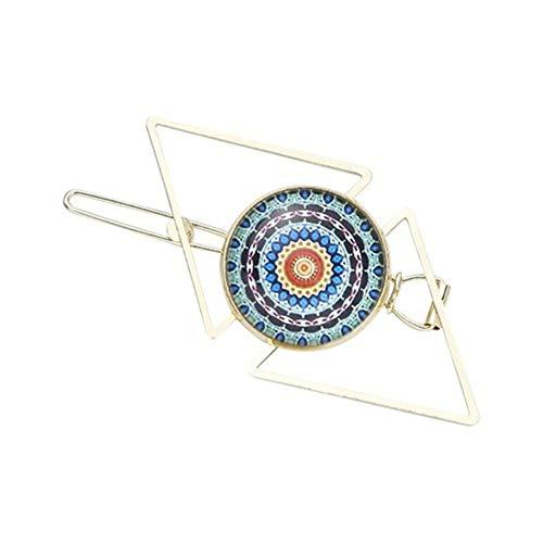 Vrouwen meisjes geometrische driehoekige haarspelden Boheemse patroon tijd edelsteen sieraden haarspelden klemmen verguld ruit 1