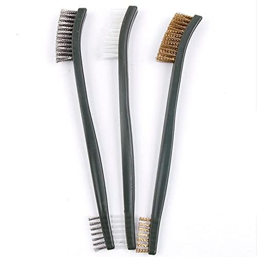 3 PCS Mini cepillo de alambre Conjunto de acero Limpieza de nylon Pulido Detalle Detalle Metal Rust Cepillo (Color : Light Grey)