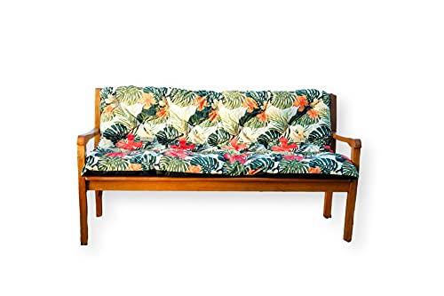4L Textil Cojín acolchado para banco de jardín (180 x 60 x 50 cm), color verde tropical