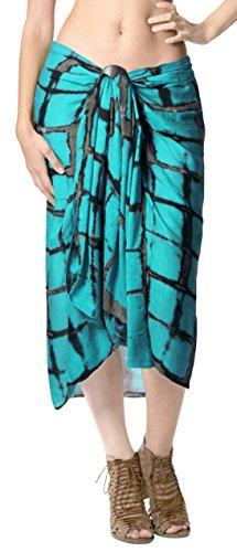 LA LEELA Tie Dye Bikini della Spiaggia dello Swimwear del Costume da Bagno Coprire Involucro Verde Donne Gonna Sarong Mare