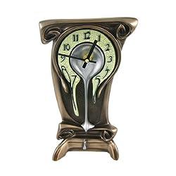 Art Nouveau 11 1/4 High Melting Bronze Table Clock