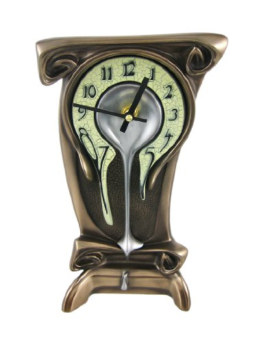 "Art Nouveau 11 1/4"" High Melting Bronze Table Clock"