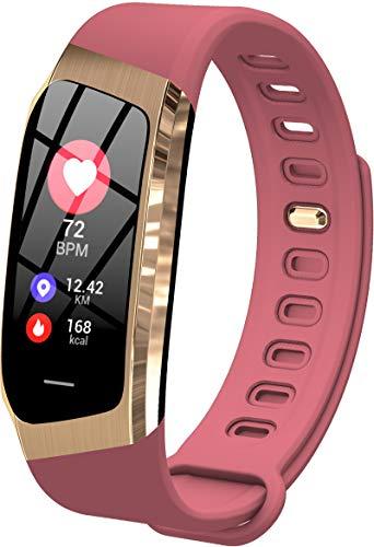 Pulsera inteligente con podómetro, monitor de presión arterial de frecuencia cardíaca y seguimiento de actividad, con Bluetooth, color rosa