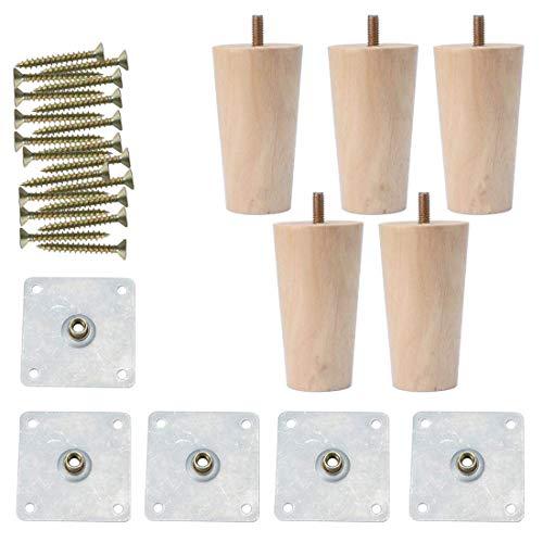 YeVhear - Juego de 5 patas redondas de madera maciza de 4 pulgadas para muebles, muebles, muebles, sofá, silla, escritorio, armario, patas de repuesto, ajuste