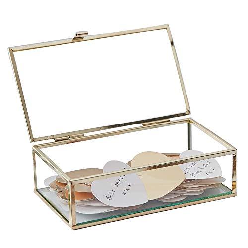 Gastenboek alternatief glazen box/doosje inclusief 160 gouden harten – het iets andere gastenboek voor bruiloft, doop, verjaardag, communie of vormsel accessoires & accessoires