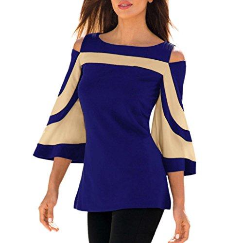 VJGOAL Damen Bluse, Frau Mädchen Schulterfrei Langarm Sweatshirt Pullover Frühling Sommer Tops Bluse Shirt (L, Blau)