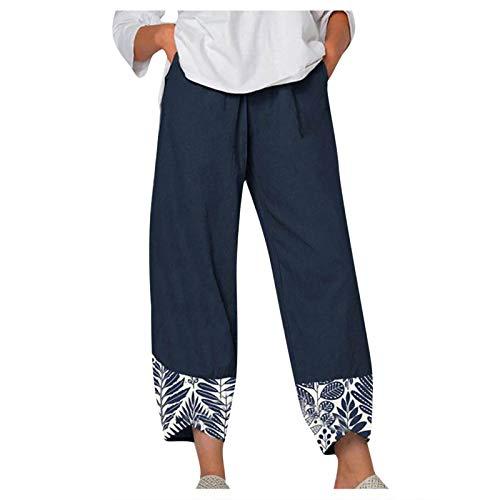 FOTBIMK Pantalones de mujer de verano casual suelto de algodón y lino bordado de pierna ancha Pantalones de ajuste holgado Pantalones de cintura elástica con bolsillos